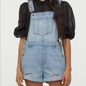 Divided H&M Denim Overall Shorts  Sz 4